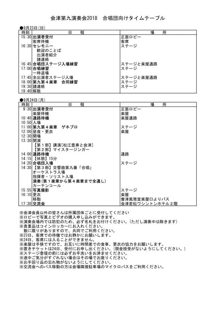 会津第九演奏会2018 合唱団向けタイムスケジュール